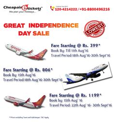We provides options of both ‪#‎Domestic‬ ‪#‎Flight‬ ‪#‎Tickets‬ and ‪#‎International‬ Flights with ‪#‎cheap‬ airline tickets.Make the most of Great Independence Day ‪#‎Sale‬. Fly at unbelievably low ‪#‎airfares‬. Hurry, before the sale ends.domestic base fare starting Rs.399/ bit.ly/1CllUks Call on :120-421-4222 , 8800496216