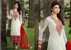 Fancy Bick Red & Off White Salwar Kameez | StylishKart.com