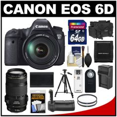 Canon EOS 6D Digital SLR Camera Body with EF 24-105mm L IS USM & 70-300mm IS Lens + 64GB Card + Case + Grip +...