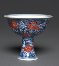 Stem Cup, 1426-1435 China, Jiangxi province, Jingdezhen , Ming dynasty (1368-1644), Xuande mark and period (1426-1435) porcelain with underglaze blue and overglaze red enamel decoration, Overall - h:9.00 w:9.90 cm (h:3 1/2 w:3 7/8 inches). John L. Severance Fund 1957.60 Cleveland