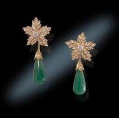 Jackie O Opaque Emerald Earrings