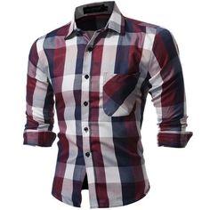 Men's Shirts Casual Fashion Men's shirt Long Sleeve Plaid Shirts Mens Shirts Slim Fit Grid Dress Shirt Men Clothing Size XXXL