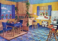 Armstrong Flooring Ad- similar to the flooring hidden under my kitchen cabinets Vintage Room, Vintage Kitchen, Vintage Decor, Retro Vintage, 1940s Kitchen, Aquaguard Flooring, Linoleum Flooring, Floors, Transition Flooring
