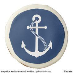 Navy Blue Anchor Nautical Wedding Favor Sugar Cookie