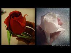 Origami Rose of Janessa tutorial 摺紙玫瑰花教學 ( Kade Chan )