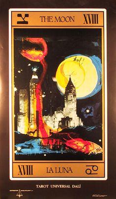 Artist: Salvador Dali Title: La Luna (from Dali's Tarot Universal Deck) Year: 1984 Medium: Vintage Poster