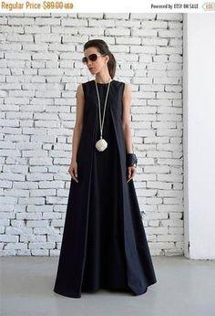 VENTA negro Maxi vestido blando largo vestido/Plus tamaño