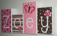 Personalized Wood Blocks - Baby Room Custom Names - M2M Tiddliwink's Raspberry Garden. $6.00, via Etsy.