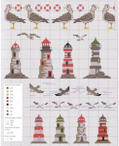 birds and lighthouses cross stitch: