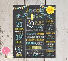 Sunshine Birthday Chalkboard Sign First by PinkLemonadeTree