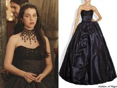 "In the episode 2x09 (""Acts of War"") Queen Mary wears this sold out Marchesa Embellished Lace and Silk-Taffeta Gown. Worn with Gillian Steinhardt labyrinth and signet rings."