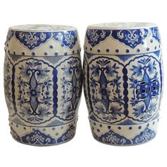 Vintage 19th century blue and white glazed ceramic garden stools from Portugal