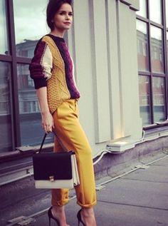 Mira Duma // vogue uk // color block sweater // knit // striped // yellow pants // red // burgundy // miroslava Duma