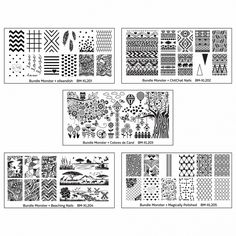 5pc Blogger Collaboration Nail Art Polish Stamping Plates - Set 1 #BundleMonster