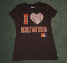 Women's Brown & Orange CLEVELAND BROWNS Rhinestone Heart NFL Shirt, Size M, GUC #NFL #ClevelandBrowns