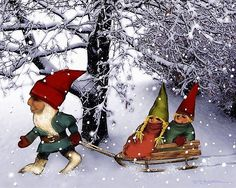 Papa Gnome Pulling Sled for the Twins by Patricia  Lee Christensen