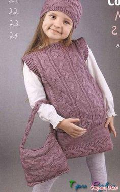 Комплект для девочки спицами... Безрукавка, юбка, повязка и сумочка...