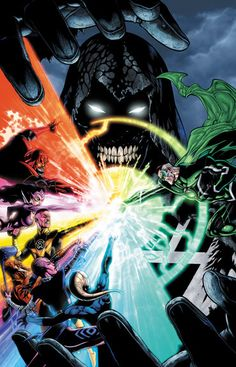 Black Lantern Corp Leader Nekron vs. the other seven Lantern Corps