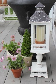 Patio decor with Pier 1 Whitewash Lantern on Pedestal