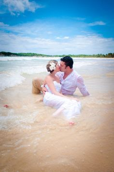 Trash the Dress #water #beach #ocean #kiss #love #sand
