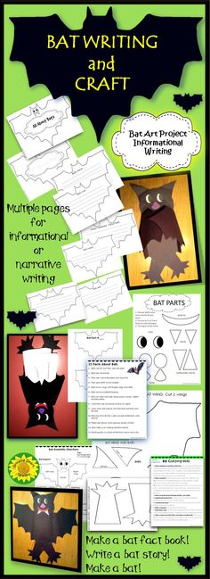 Bat Writing and Craft is writing and fun all in one! Kids will write using bat shape templates (with or without prompts), or write a narrative about bats. Follow up with a large bat for the wall! Upside down, it makes a fun pocket for their writing.Simple pattern to cut out. K-3