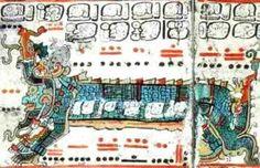 escrita maia-Um fragmento de relatos contidos no Códex de Dresden.