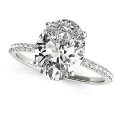 Allurez Diamond Accented Oval Shape Engagement Ring Platinum (3.00ct) (95.435 BRL) ❤ liked on Polyvore featuring jewelry, rings, pave setting engagement rings, engagement rings, platinum eternity ring, platinum engagement rings and oval stone ring
