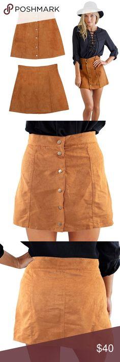 HIP VEGAN SUEDE SKIRT  HIP CAMEL COLOR VEGAN SUEDE BUTTON UP SKIRT Skirts Mini