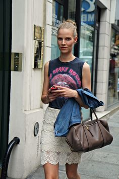 pencil skirt and rock tee shirt