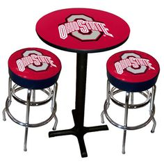 Ohio State Buckeye pub table and bar stools Perfect for a sports den