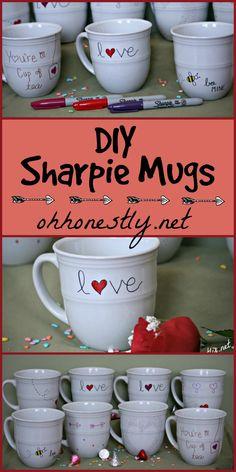 DIY Sharpie Mugs Valentine's Day