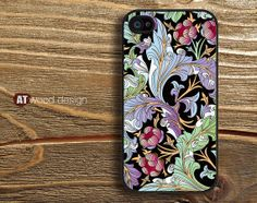 black iphone 4 case iphone 4s case iphone 4 cover classic illustrator  flower graphic new design printing. $14.99, via Etsy.