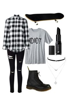 """Skater"" by haechans-vocal-chords on Polyvore featuring Miss Selfridge, Golden Goose, Dr. Martens, Jessica Simpson and e.l.f."