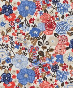 Liberty Beths Flowers C Tana Lawn. Love the cream, red, blue and brown, but like it also in the blue colorway.