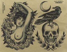 Old school tattoo flash,Lady and Bird on Skull. Henna Tattoo Designs Arm, Old School Tattoo Designs, Tattoo Design Drawings, Traditional Tattoo Inspiration, Traditional Tattoo Flash, Traditional Ideas, American Traditional, Flash Art Tattoos, Dessin Old School