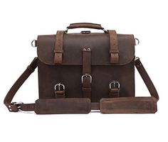 ManBagsSF 16 inch chocolate leather briefcase