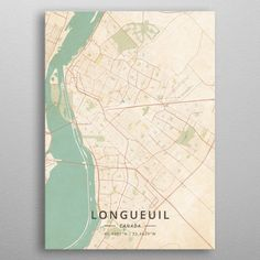 """Beautiful """"Longueuil Canada"""" metal poster created by Designer Map Art. Our Displate metal prints will make your walls awesome. Wall Art Prints, Poster Prints, Canvas Prints, Fine Art Posters, Painted Cups, Muse Art, Office Art, Print Artist, Cool Artwork"""