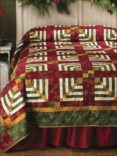 Quilting - Bed Quilt Patterns - Log Cabin Quilt Patterns This elegant bed quilt makes a striking design statement. This e-pattern was originally published in the December 2009 issue of Quilter's World magazine. Log Cabin Quilts, Log Cabins, Patchwork Quilting, Bed Runner, Quilting Projects, Quilting Designs, Pineapple Quilt, Quilt Bedding, Quilt Top