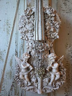 Cherub violin art piece wall hanging French Nordic white grayish distressing shabby cottage chic ornate roses home decor anita spero design