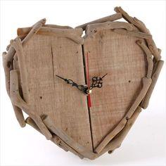Heart shaped Driftwood clock. 19 cm x 20 cm