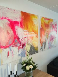 Art by PHR. (Pernille Højland-Rønde) 100x100 cm acrylic abstract paintings. BLACK N White.