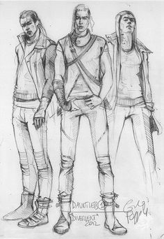 "Costume design concept art for Dauntless from ""Divergent"" by Carlo Poggioli."