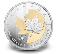 For 25 years, the iconic Silver Maple Leaf has been a highly sought-after RCM's bullion investment coin. This pure silver numismatic coin with selective gold plating celebrates the Silver Maple Leaf�s beauty and success since its introduction in