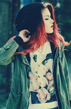 Pastel goth soft grunge cute rock black alternative outfit fashion + pink / red hair