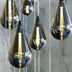 Pendant lamp / contemporary / blown glass / glass FLUID Beau McClellan Design