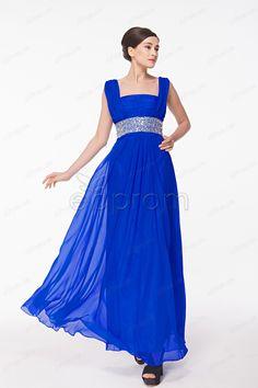 Square neckline Plus Size Royal Blue Chiffon Mother of the Bride Dresses