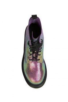 boots femme montantes pascal dr. martens violet argent - accessoires chaussures femme