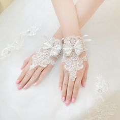 >> Click to Buy << Cheap Short Bridal Gloves Lace Bow Gants Mariage Fingerless Beaded Applique Women Wedding Gloves BA07 #Affiliate