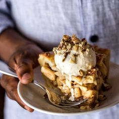 The one and only apple pie recipe you need: Caramel Apple Pie topped with homemade vanilla and walnuts.