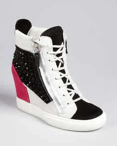 Giuseppe Zanotti Lace Up Wedge Sneakers - London Shoes - Bloomingdale's Women's Shoes, Cute Shoes, Me Too Shoes, Shoe Boots, Shoes Sneakers, Womens Wedge Sneakers, Fashion Heels, Sneakers Fashion, 3d Fashion